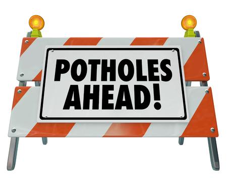 Potholes Ahead Danger Warning Sign Damaged Road 3d Illustration 写真素材