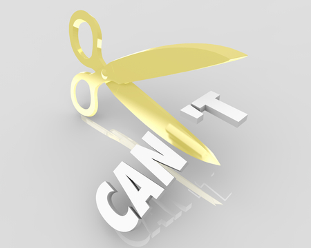 Can Vs Cant Scissors Cutting Word Positive Attitude 3d Illustration Stock Photo