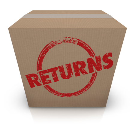 Rückkehr, die zurück Illustration des Kasten-Paket-unerwünschten Lieferungs-3d sendet