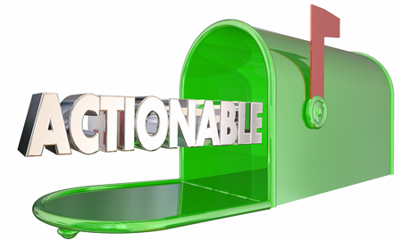 Actionable Mailbox Word Act Now Take Action 3d Illustration Stock Photo