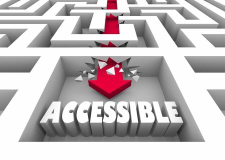 Accessible Maze Break Through Reach Get Access Goal 3d Illustration 版權商用圖片