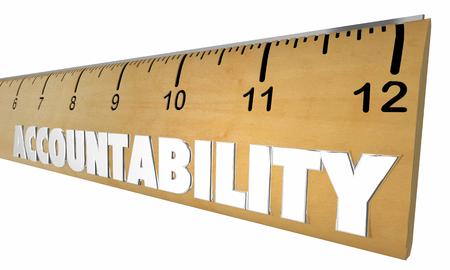 Accountability Responsibility Measure Ruler Word 3d Illustration