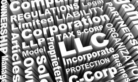 LLC LLP S- C-Corp Business Types Models Words 3d Illustration Archivio Fotografico
