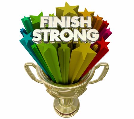 Finish Strong Winner Prize Trophy Award 3d Illustration