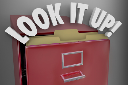 Look it Up Filing Cabinet Records Archives 3d Illustration Stok Fotoğraf