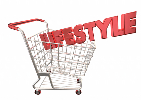 Lifestyle Shopping Cart Buying Products Spending 3d Illustration Banco de Imagens