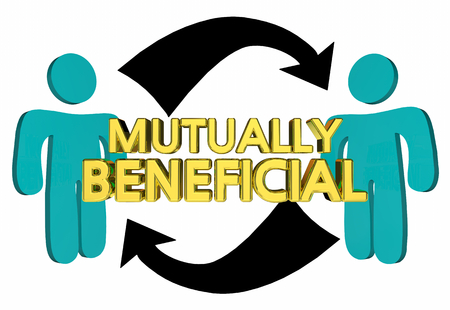 Mutually Beneficial Helping Each Other 3d Illustration Archivio Fotografico - 97403989