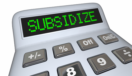 Subsidize Financial Support Subsidies Calculator 3d Illustration Stock Photo