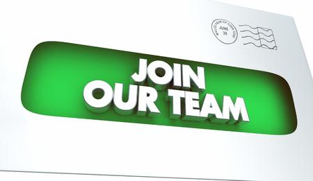 Join our team recruitment employment invitation envelope 3d illustration