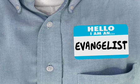 Evangelist Hello Name Tag Sticker Supporter Preacher  3d Illustration Stock Photo