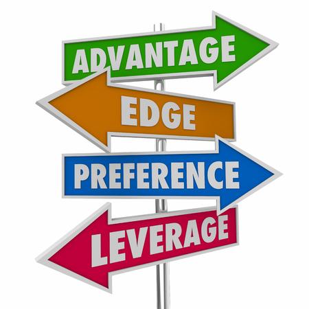 Advantage Edge Preference Sign Arrow Words 3d Illustration