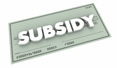 Subsidy Check Handout Support Help Backing 3d Illustration Stock Photo