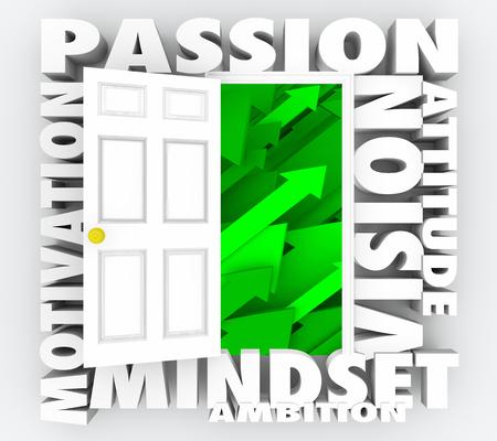 Passion Vision Motivation Mindset Positive Door Words 3d Illustration
