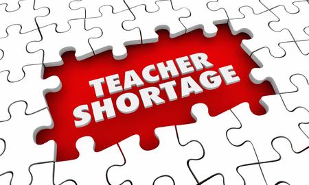 Teacher Shortage Puzzle Pieces Words Hire More Educators 3d Illustration