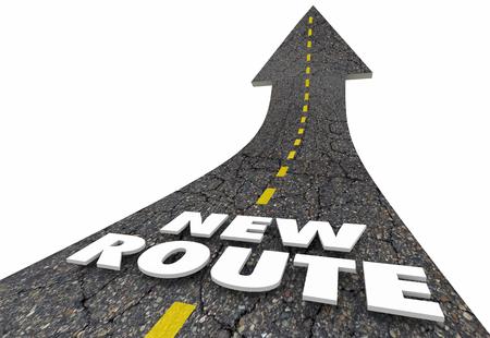 New Route Words Road Arrow Change Course 3d Illustration Banco de Imagens
