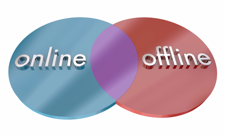 Online Vs Offline Communication Venn Diagram Comparison 3d