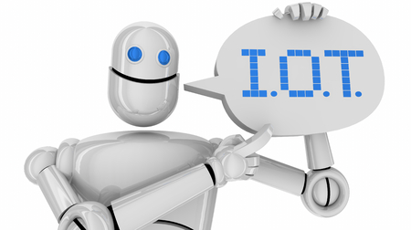 IOT Robot Information of Things Speech Bubble 3d Illustration