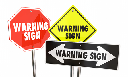 Warning Signs Danger Caution Words Hazard Ahead 3d Illustration