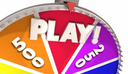 遊ぶ 回転ホイールルーレットゲームギャンブル3Dイラスト 写真素材