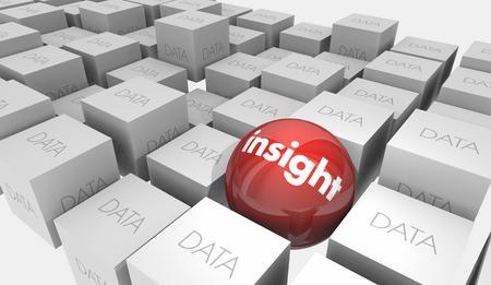 Insight Vs Data Intelligence Analysis Ball Cubes 3d Illustration Banco de Imagens