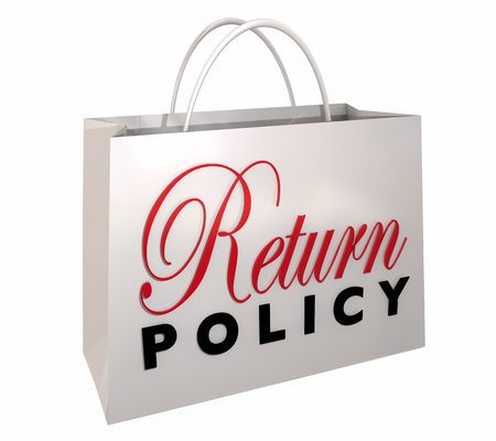 Return Policy Satisfaction Guaranteed Shopping Bag 3d Illustration