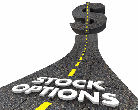 Stock Options Dollar Sign Road to Wealth Income 3d Illustration