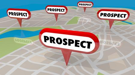 Perspectiva Nuevos clientes potenciales Mapa Pines Ilustración 3d