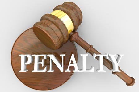 Penalización Sentencia Martillo Decisión Penalizar Culpable Demandado Ilustración 3d