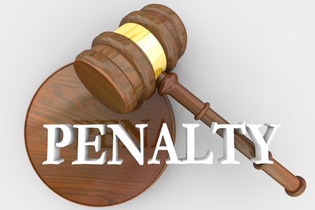 Penalty Judgment Gavel Decision Penalize Guilty Defendant 3d Illustration Banco de Imagens
