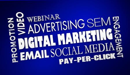 Digital Marketing Advertising Email Video Webinar Collage 3d Illustration