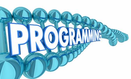 Programming DNA Code Genetics Heredity 3d Illustration Banco de Imagens