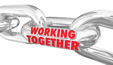 Working Together Chain Links Cooperation Bound Partners 3d Illustration Stockfoto - 97491711