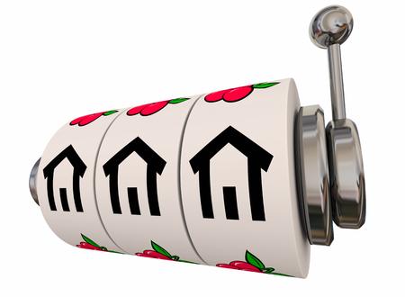 Win New House Home Slot Machine Wheels Dials 3d Illustration