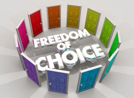 Freedom of Choice Doors Choose Your Future Option 3d Illustration Stock Photo