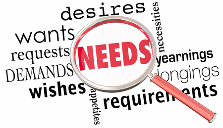 Needs Wants Desires Requirements Magnifying Glass 3d Illustration Reklamní fotografie