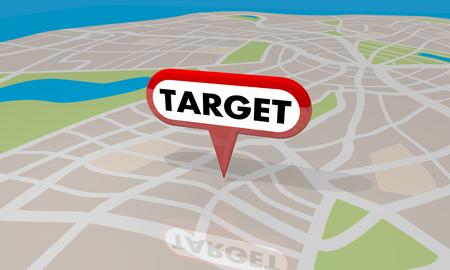 Target Map Pin Perfect Spot Navigation Directions 3d Illustration Stock Photo
