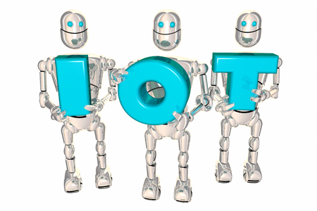 IOT Internet of Things Letters Robots 3d Illustration