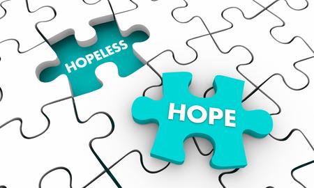 Hoffnung für die hoffnungslose Puzzleteil 3d Illustration Standard-Bild