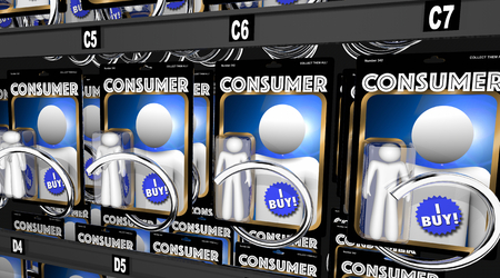 Consumers Customers Shoppers Purchasers 3d Illustration Banco de Imagens