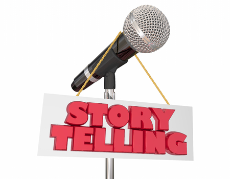 Storytelling Microphone Sign Share Stories Communication 3d Illustration