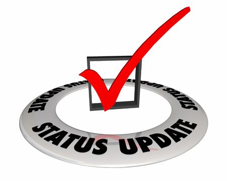 Status Update Check Mark Box Information 3d Illustration Stockfoto