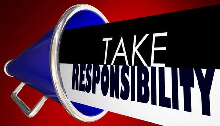 Take Responsibility Megaphone Bullhorn Accountable 3d Illustration