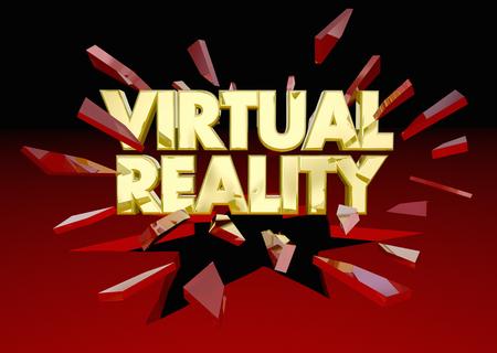 Virtual Realtiy Words Breaking Through Red Glass 3d Illustration Stok Fotoğraf