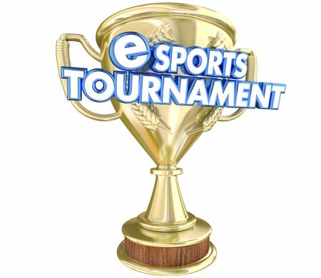 eSports Tournament Trophy Award Winner Prize 3d Illustration Stock Photo
