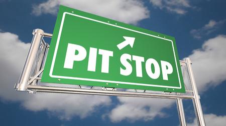 Pit Stop Take Break Freeway Road Sign Rest Relax 3d Illustration Stockfoto