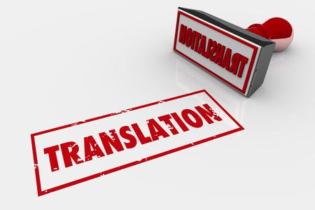 Translation Stamp Word Translated 3d Illustration