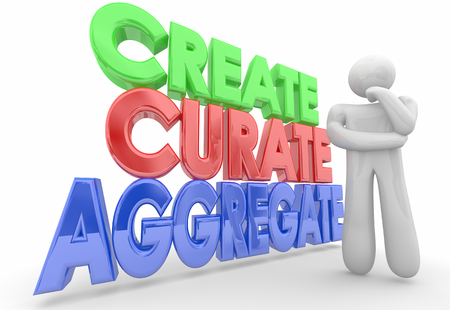 Create Curate Aggregate Thinking Person Content Choices 3d Illustration