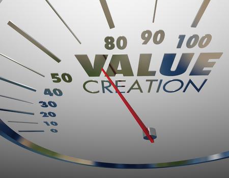 Waardecreatie Snelheidsmeter Niveausnelheid Waardevolle inhoud Activa 3D-afbeelding Stockfoto