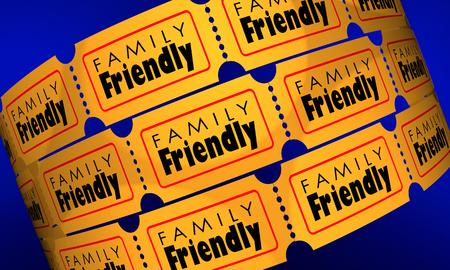 Family Friendly Movie Film Entertainment Tickets 3d Illustration Reklamní fotografie