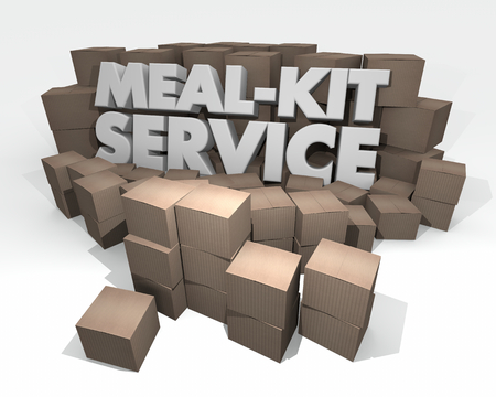 Meal-Kit Service Words Cardboard Boxes 3d Illustration
